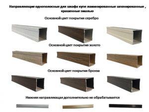 Направляющие однопосные для шкафа купе ламинированные, шпонированные, крашенные эмалью Чита